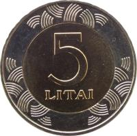 reverse of 5 Litai (1998 - 2014) coin with KM# 113 from Lithuania. Inscription: 5 LITAI