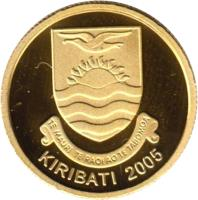 obverse of 10 Dollars - Christmas Island (2005) coin with KM# 54 from Kiribati. Inscription: TE MAURI TE RAOI AO TE TABOMOA KIRIBATI 2005