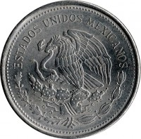 obverse of 1 Peso (1983 - 1987) coin with KM# 496 from Mexico. Inscription: ESTADOS UNIDOS MEXICANOS