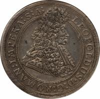 obverse of 1 Thaler - Leopold I - Prague mint (1695) coin with KM# 611 from Austria.