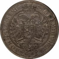 reverse of 1 Thaler - Leopold I - Prague mint (1695) coin with KM# 611 from Austria.