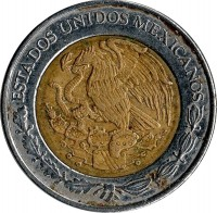 obverse of 1 Peso (1993 - 2015) coin with KM# 603 from Mexico. Inscription: ESTADOS UNIDOS MEXICANOS