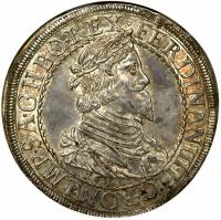 obverse of 1 Taler - Ferdinand III - Graz Mint (1638) coin with KM# 857 from Austria.