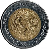 obverse of 5 Pesos (1997 - 2014) coin with KM# 605 from Mexico. Inscription: ESTADOS UNIDOS MEXICANOS