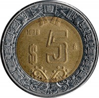 reverse of 5 Pesos (1997 - 2014) coin with KM# 605 from Mexico. Inscription: $5 2005 M