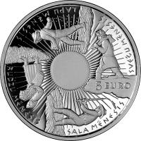 obverse of 5 Euro - Coin of the Seasons (2014) coin with KM# 163 from Latvia. Inscription: 5 EURO SVEČU MĒNESIS LAPU MĒNESIS RUDZU MĒNESIS SALA MĒNESIS
