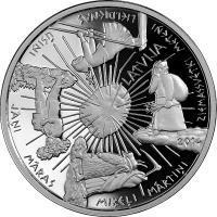 reverse of 5 Euro - Coin of the Seasons (2014) coin with KM# 163 from Latvia. Inscription: LATVIJA 2014 ZIEMASSVĒTKI METEŅI LIELDIENAS ŪSIŅI JĀŅI MĀRAS MIĶEĻI MĀRTIŅI