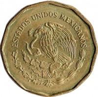 obverse of 20 Centavos - Larger (1992 - 2009) coin with KM# 548 from Mexico. Inscription: ESTADOS UNIDOS MEXICANOS