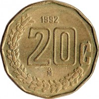 reverse of 20 Centavos - Larger (1992 - 2009) coin with KM# 548 from Mexico. Inscription: 20¢ 2004 M