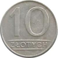 reverse of 10 Złotych (1984 - 1988) coin with Y# 152.1 from Poland. Inscription: 10 ZŁOTYCH
