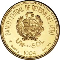 reverse of 1 Nuevo Sol - Moche Culture: Señor de Sipán (1994) coin with KM# 312 from Peru. Inscription: BANCO CENTRAL DE RESERVA DEL PÉRU UN NUEVO SOL 1994 16.976 g ORO 916