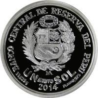 reverse of 1 Nuevo Sol - 125th Anniversary of Banco de Credito del Perú (2014) coin with KM# 382 from Peru. Inscription: BANCO CENTRAL DE RESERVA DEL PÉRU 2014 - UN NUEVO SOL PLATA .925 33.625G