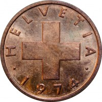 obverse of 2 Rappen (1948 - 1974) coin with KM# 47 from Switzerland. Inscription: HELVETIA · 1948 ·