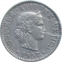 obverse of 5 Rappen (1879 - 1980) coin with KM# 26 from Switzerland. Inscription: CONFŒDERATIO HELVETICA 1958