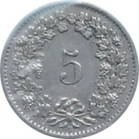 reverse of 5 Rappen (1879 - 1980) coin with KM# 26 from Switzerland. Inscription: 5 B