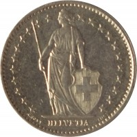 obverse of 1/2 Franc (1968 - 2015) coin with KM# 23a from Switzerland. Inscription: HELVETIA