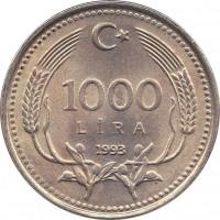reverse of 1000 Lira (1990 - 1994) coin with KM# 997 from Turkey. Inscription: 1000 LIRA 1991