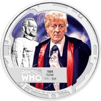 reverse of 1 Dollar - Elizabeth II - Doctor Who: 3rd Doctor (2013) coin with KM# 1096 from Niue.