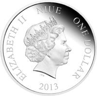 obverse of 1 Dollar - Elizabeth II - Doctor Who: 5th Doctor (2013) coin with KM# 1098 from Niue. Inscription: ELIZABETH II NIUE ONE DOLLAR 2013