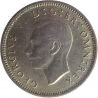obverse of 6 Pence - George VI - Without IND:IMP (1949 - 1952) coin with KM# 875 from United Kingdom. Inscription: GEORGIUS VI D:G:BR:OMN:REX