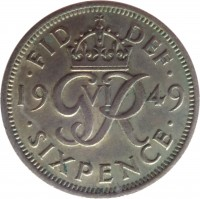 reverse of 6 Pence - George VI - Without IND:IMP (1949 - 1952) coin with KM# 875 from United Kingdom. Inscription: · FID DEF · 19 G VI R 49 · SIX PENCE ·