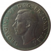 obverse of 2 Shillings - George VI - Without IND:IMP (1949 - 1951) coin with KM# 878 from United Kingdom. Inscription: GEORGIVS VI D:G:BR:OMN:REX HP