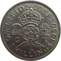 reverse of 2 Shillings - George VI - Without IND:IMP (1949 - 1951) coin with KM# 878 from United Kingdom. Inscription: :FID: :DEF: G R TWO SHILLINGS 1950