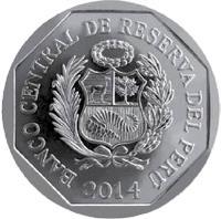 obverse of 1 Nuevo Sol - Wealth and Pride of Peru: Palace Hotel (2014) coin with KM# 381 from Peru. Inscription: BANCO CENTRAL DE RESERVA DEL PERÚ 2014