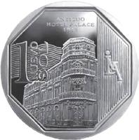 reverse of 1 Nuevo Sol - Wealth and Pride of Peru: Palace Hotel (2014) coin with KM# 381 from Peru. Inscription: Antiguo Hotel Palace 1912 1 NUEVO SOL