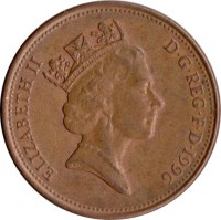 obverse of 2 Pence - Elizabeth II - Non magnetic; 3'rd Portrait (1985 - 1992) coin with KM# 936 from United Kingdom. Inscription: ELIZABETH II D · G · REG · F · D · 1990 RDM