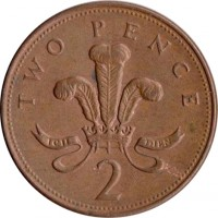 reverse of 2 Pence - Elizabeth II - Non magnetic; 3'rd Portrait (1985 - 1992) coin with KM# 936 from United Kingdom. Inscription: TWO PENCE ICH DIEN 2