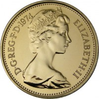 obverse of 5 New Pence - Elizabeth II - 2'nd Portrait (1968 - 1981) coin with KM# 911 from United Kingdom. Inscription: D · G · REG · F · D · 1970 ELIZABETH · II