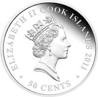 obverse of 50 Cents - Elizabeth II - Love coin (2011) coin from Cook Islands. Inscription: ELIZABETH II COOK ISLANDS 2011 RDM · 50 CENTS ·