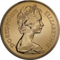 obverse of 10 New Pence - Elizabeth II - 2'nd Portrait (1968 - 1981) coin with KM# 912 from United Kingdom. Inscription: D · G · REG · F · D · 1969 ELIZABETH · II