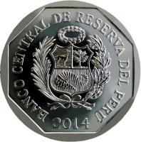 obverse of 1 Nuevo Sol - Wealth and Pride of Peru: Catedral de Lima (2014) coin with KM# 384 from Peru. Inscription: BANCO CENTRAL DE RESERVA DEL PERÚ 2014