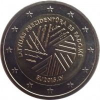 obverse of 2 Euro - Latvian Presidency of the Council of the EU (2015) coin with KM# 173 from Latvia. Inscription: LATVIJAS PREZIDENTŪRA ES PADOMĒ EU2015.LV