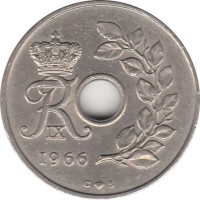 obverse of 25 Øre - Frederik IX (1966 - 1972) coin with KM# 855 from Denmark. Inscription: FR IX 1967 C ♥ S