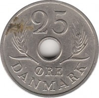 reverse of 25 Øre - Frederik IX (1966 - 1972) coin with KM# 855 from Denmark. Inscription: DANMARK 25 ØRE