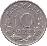 reverse of 10 Øre - Frederik IX (1960 - 1972) coin with KM# 849 from Denmark. Inscription: DANMARK 10 ØRE