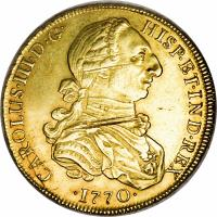 obverse of 8 Escudos - Carlos III (1768 - 1772) coin with KM# 73 from Peru.