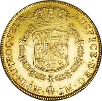 reverse of 8 Escudos - Carlos III (1768 - 1772) coin with KM# 73 from Peru.