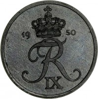 obverse of 2 Øre - Frederik IX (1948 - 1972) coin with KM# 840 from Denmark. Inscription: FR IX 1959
