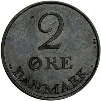 reverse of 2 Øre - Frederik IX (1948 - 1972) coin with KM# 840 from Denmark. Inscription: DANMARK 2 ØRE