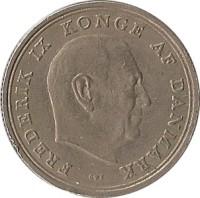 obverse of 1 Krone - Frederik IX (1960 - 1972) coin with KM# 851 from Denmark. Inscription: FREDERIK IX KONGE AF DANMARK C ♥ S