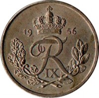 obverse of 25 Øre - Frederik IX (1948 - 1960) coin with KM# 842 from Denmark. Inscription: FR IX 1951