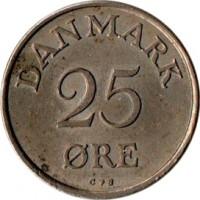 reverse of 25 Øre - Frederik IX (1948 - 1960) coin with KM# 842 from Denmark. Inscription: DANMARK 25 ØRE N ♥ S
