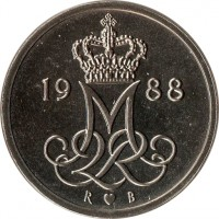 obverse of 10 Øre - Margrethe II (1973 - 1988) coin with KM# 860 from Denmark. Inscription: M 2 R 1981 S ♥ B