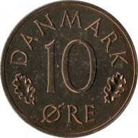 reverse of 10 Øre - Margrethe II (1973 - 1988) coin with KM# 860 from Denmark. Inscription: DANMARK 10 ØRE
