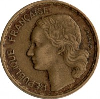 obverse of 10 Francs (1950 - 1959) coin with KM# 915 from France. Inscription: REPUBLIQUE FRANÇAISE G GUIRAUD