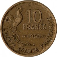 reverse of 10 Francs (1950 - 1959) coin with KM# 915 from France. Inscription: 10 FRANCS 1952 LIBERTE EGALITE FRATERNITE